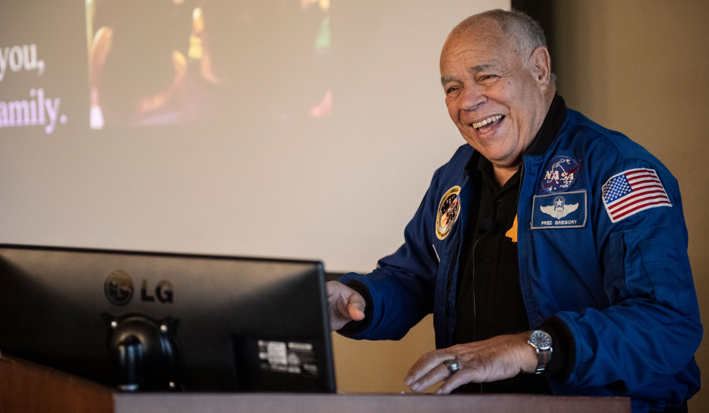 Astronaut Fred Gregory, a former NASA deputy administrator, test pilot, manager of flight safety programs and launch support operations speaks in Griffis.