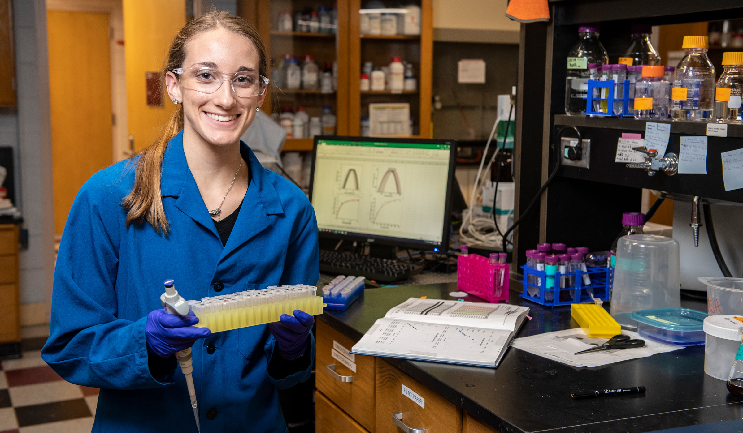 Emily Chappell, pictured in a research lab.