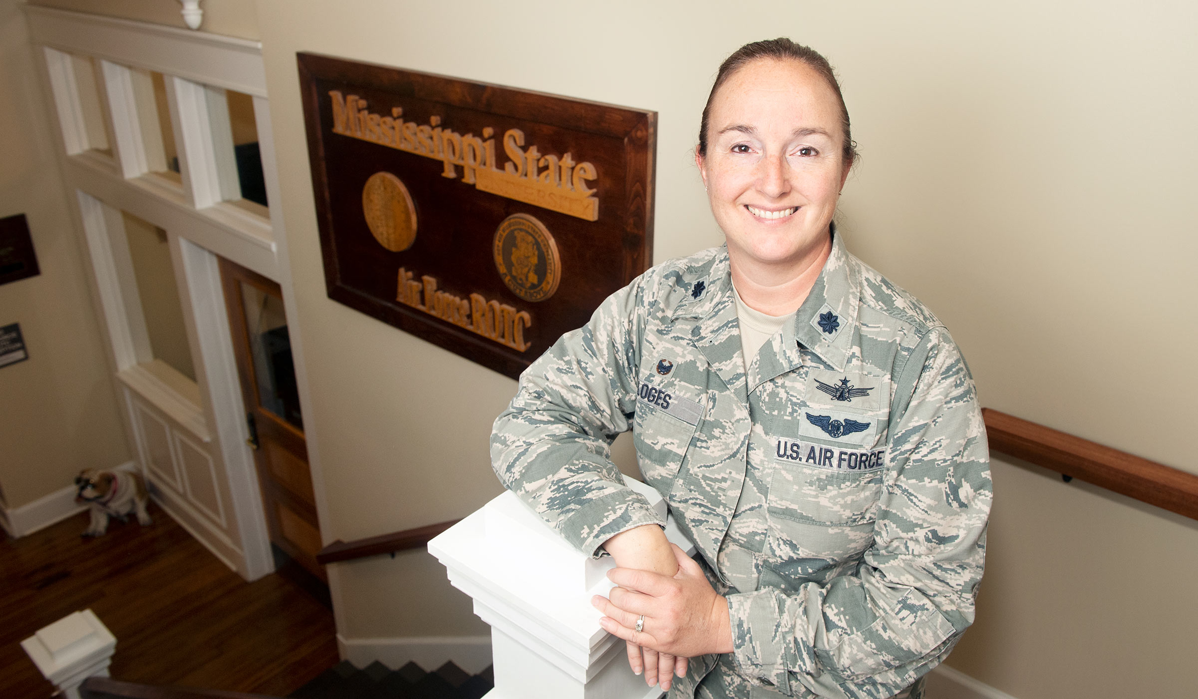 Lt. Col. Megan Loges, pictured at MSU Air Force ROTC headquarters.