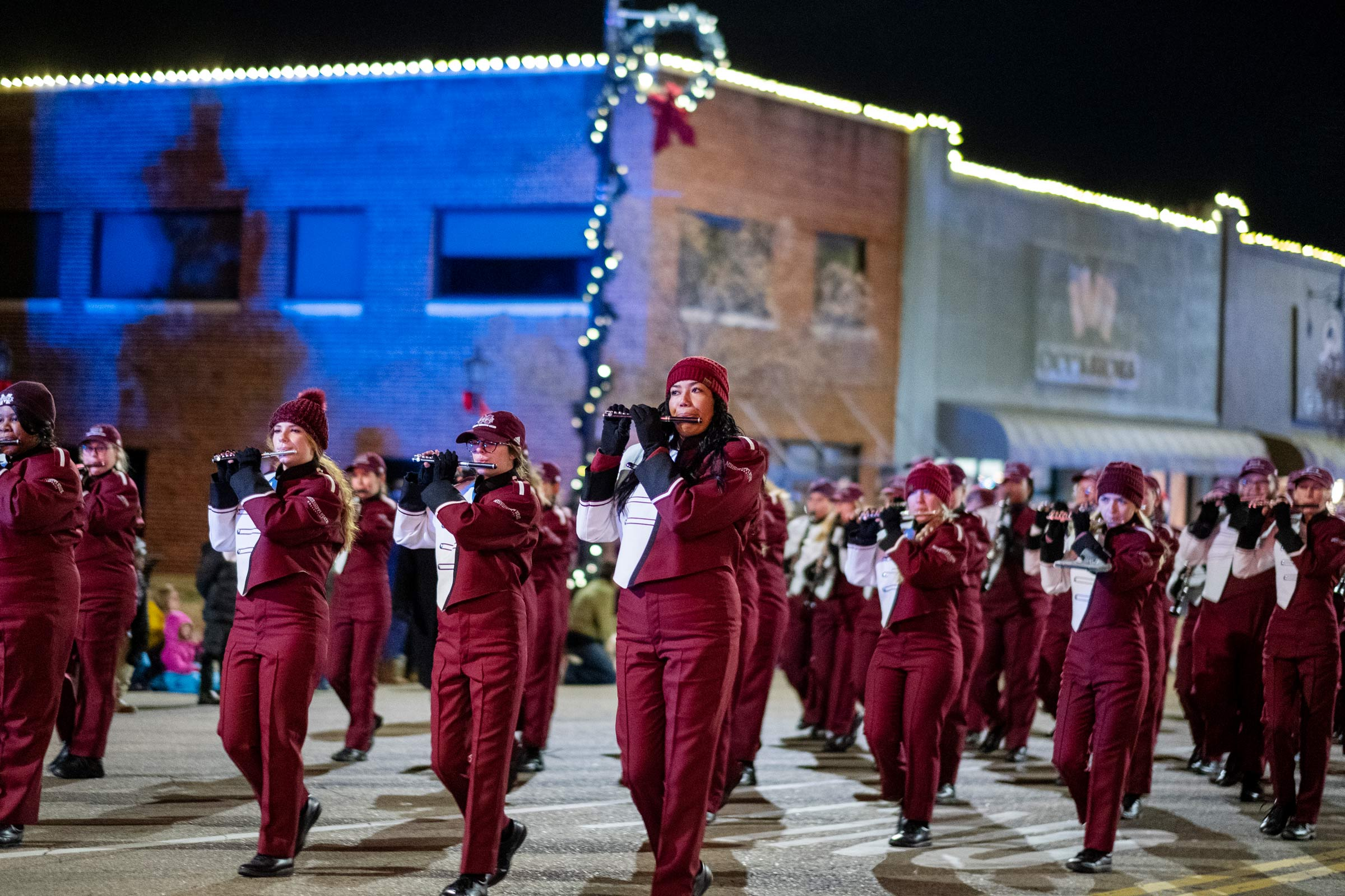 MSU's Famous Maroon Marching Band marches through downtown Starkville as part of the 2019 Christmas Parade.
