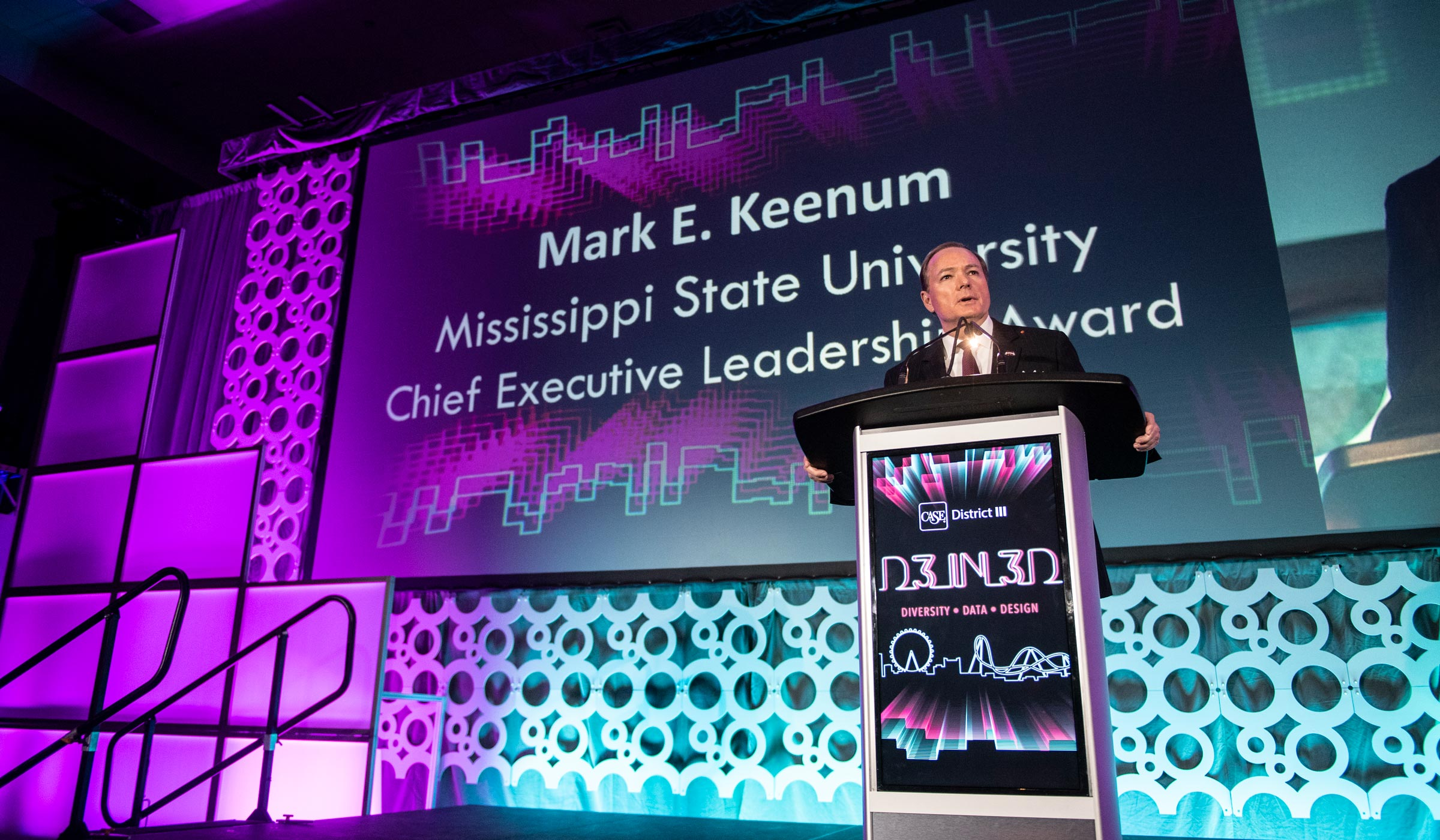 Dr. Keenum gives a speech after being announced the recipient of the Chief Executive Leadership Award in Orlando, Florida.