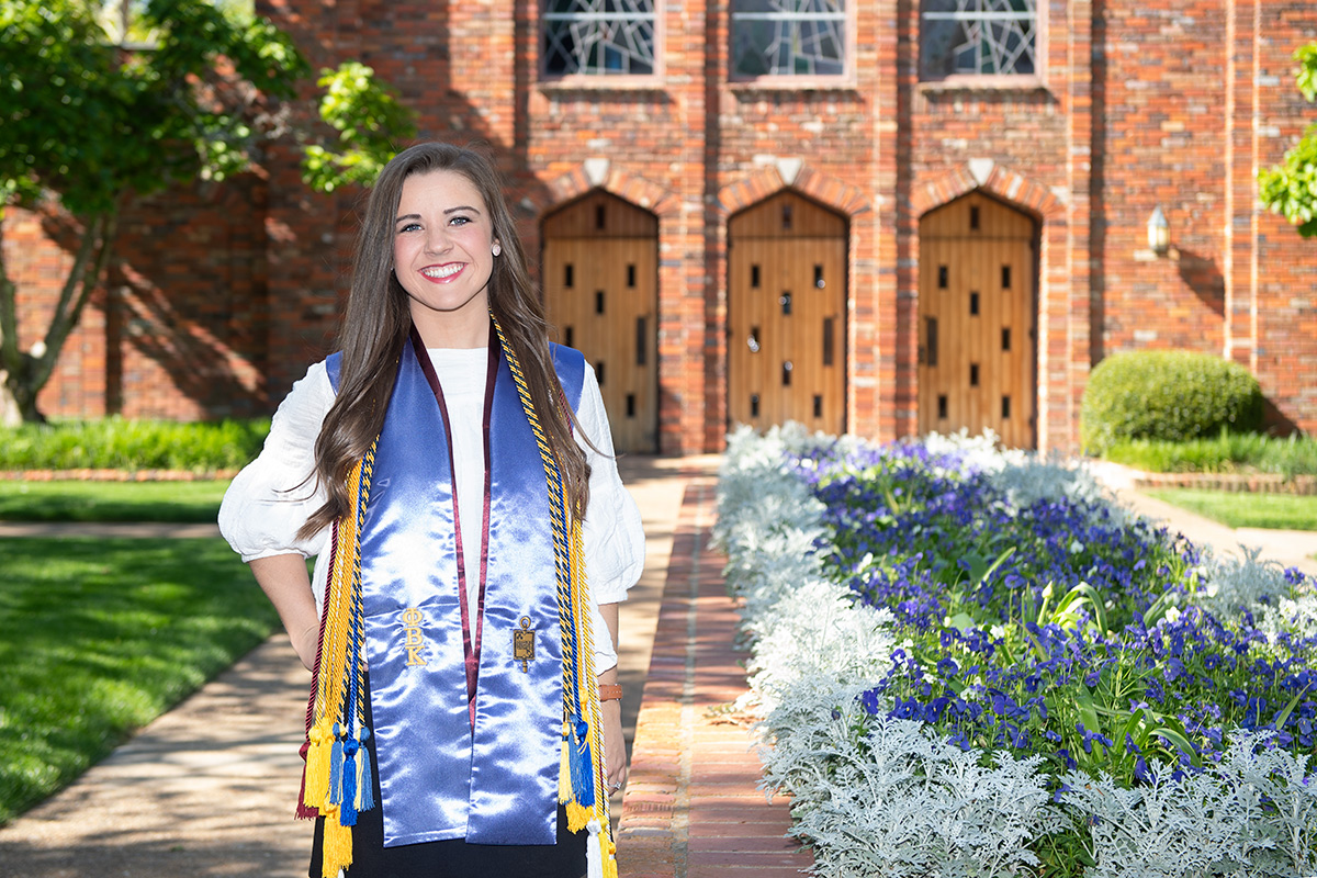 Kali Hicks, pictured outside the MSU Chapel of Memories.