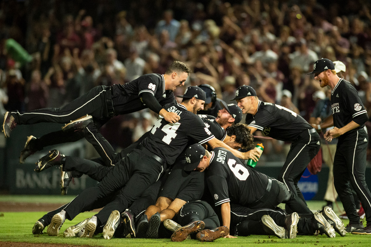 MSU Baseball team dogpiles on the pitchers mound after clinching a CWS appearance in Omaha.