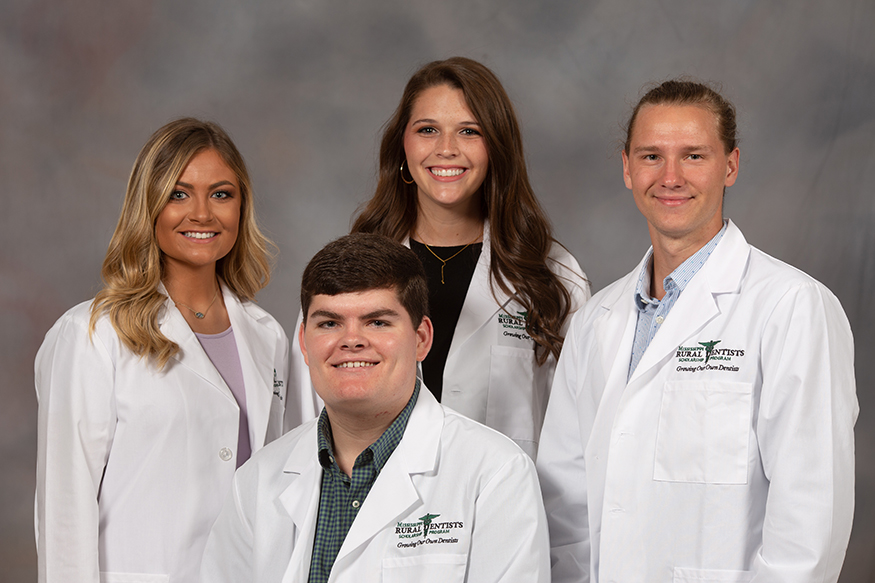Four Mississippi State University students have been accepted into the Mississippi Rural Dentists Scholarship Program. They include, from left to right, Rebecca Sheffield of New Albany, Bradley Stokes of Madison, Shelby Turner of Sallis and Joshua Cochran of Lucedale. (Photo submitted)