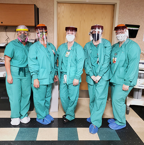 Anderson Regional Health System ICU nurses wear face shields made by MSU faculty and staff