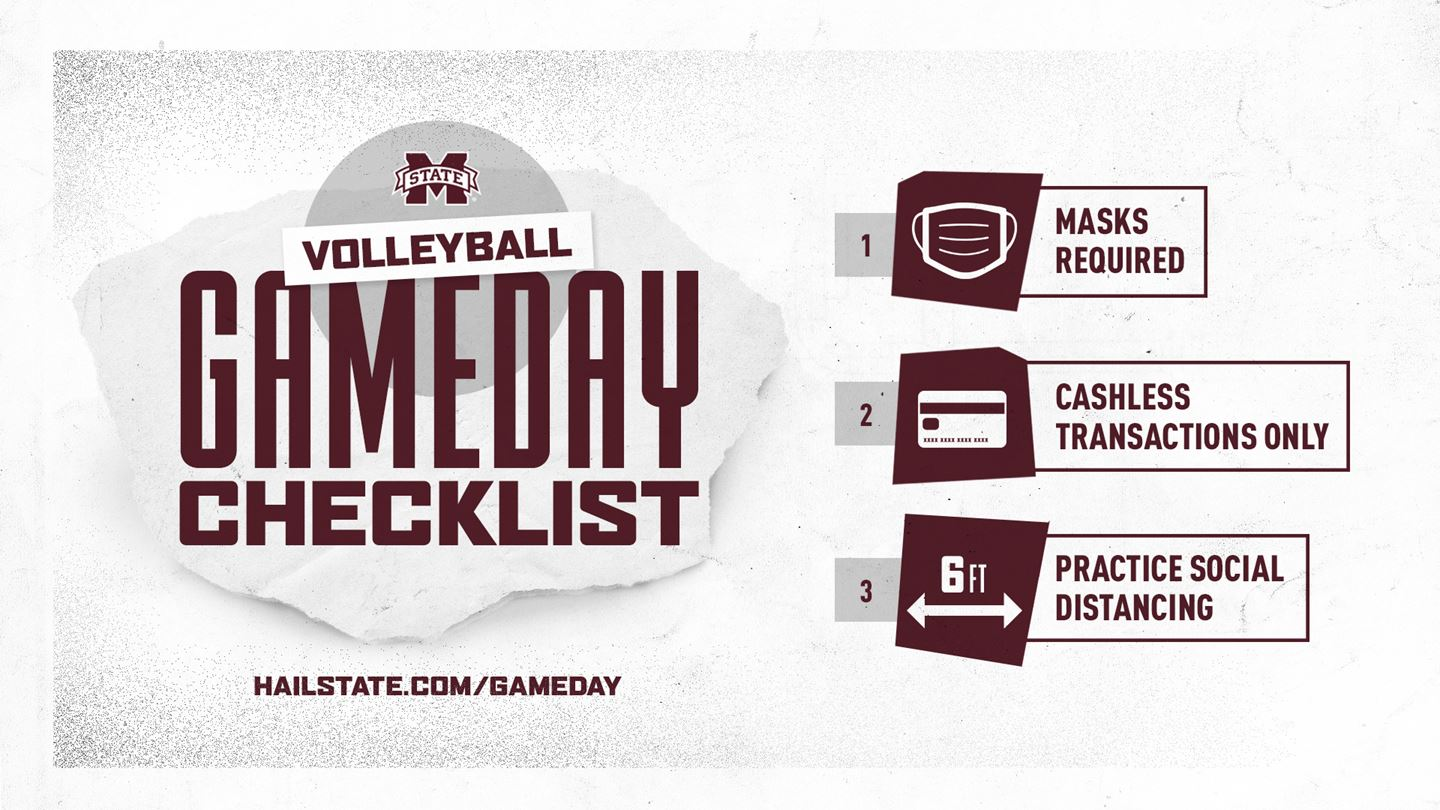 Maroon, white and gray graphic with fan reminders for home volleyball matches