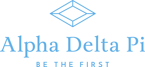 "Alpha Delta Pi ""Be The First"" logo with light blue letters on a white background"