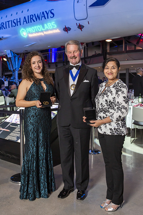 MSU aerospace engineering alumna Leeann Meadows, left, and Aerospace Engineering Professor Rani Sullivan, right, receive the 2018 George Stephenson Medal from Institution of Mechanical Engineers President Tony Roche. (Submitted photo)