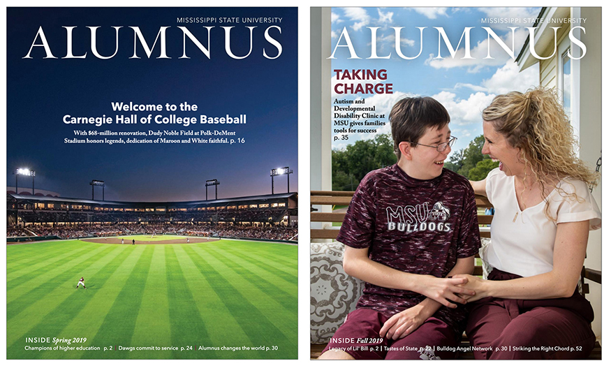 Spring and Fall 2019 covers of MSU's Alumnus magazine