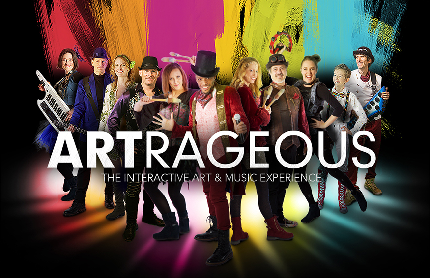 Colorful graphic promoting Artrageous's Lyceum Series performance at MSU