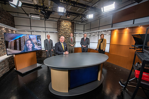 MSU personnel gathered in the University Television Center.