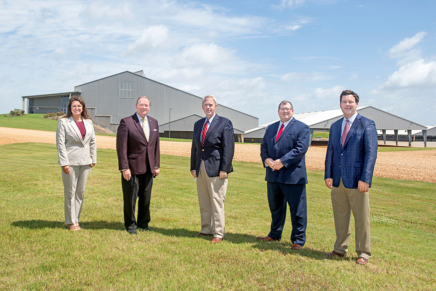 Standing outside at the Mississippi Horse Park from left to right are Mississippi Horse Park Director and Oktibbeha County District Four Supervisor Bricklee Miller; MSU President Mark E. Keenum; Northern District Public Service Commissioner Brandon Presley; Southern District Public Service Commissioner Dane Maxwell; and Atmos Vice President of Rates and Regulatory Affairs Mathew Davidson.