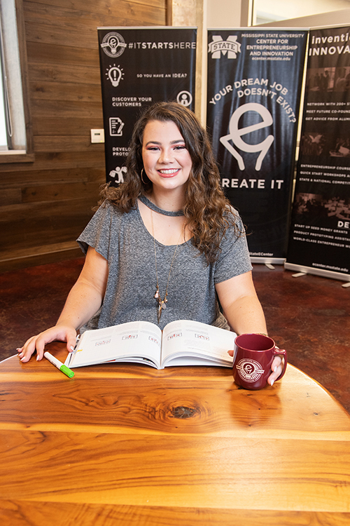 Shelby Baldwin is pictured at MSU's Center for Entrepreneurship and Outreach. (Photo by Beth Wynn)