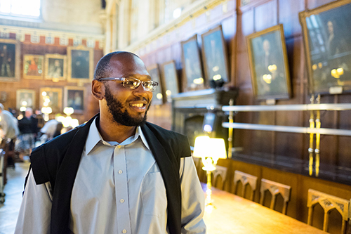 "Donald M. ""Field"" Brown of Vicksburg, MSU's second Rhodes Scholar, graduated summa cum laude in 2014 with bachelor's degrees in English and philosophy. Completing his dissertation in African American literature at Harvard University, he is pictured at Christ Church College in Oxford, England, where he studied English literature as an MSU student. (Photo by Megan Bean)"