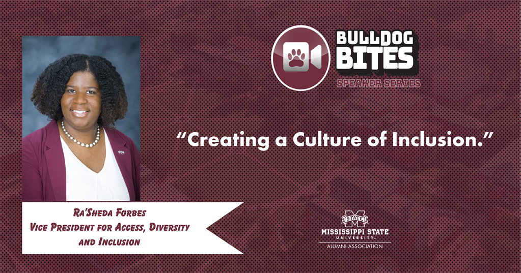 Maroon and white graphic with a photo of MSU Vice President for Access, Diversity and Inclusion Ra'Sheda Forbes