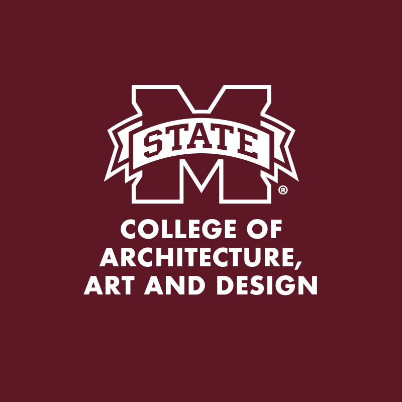 """M-State"" and ""College of Architecture, Art and Design"" in white letters on a maroon background"