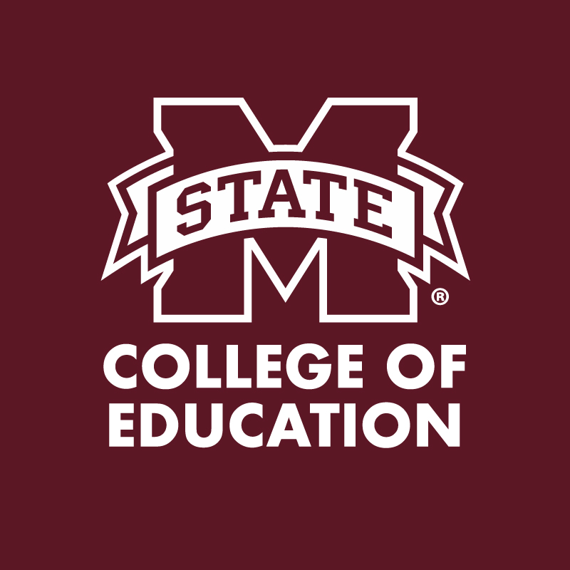 """M-State"" and ""College of Education"" in white letters on a maroon background"