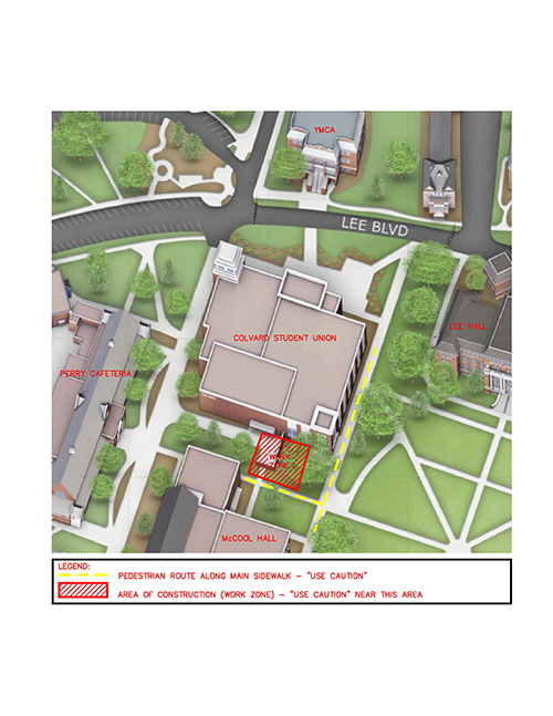 Map showing construction area near Colvard Student Union