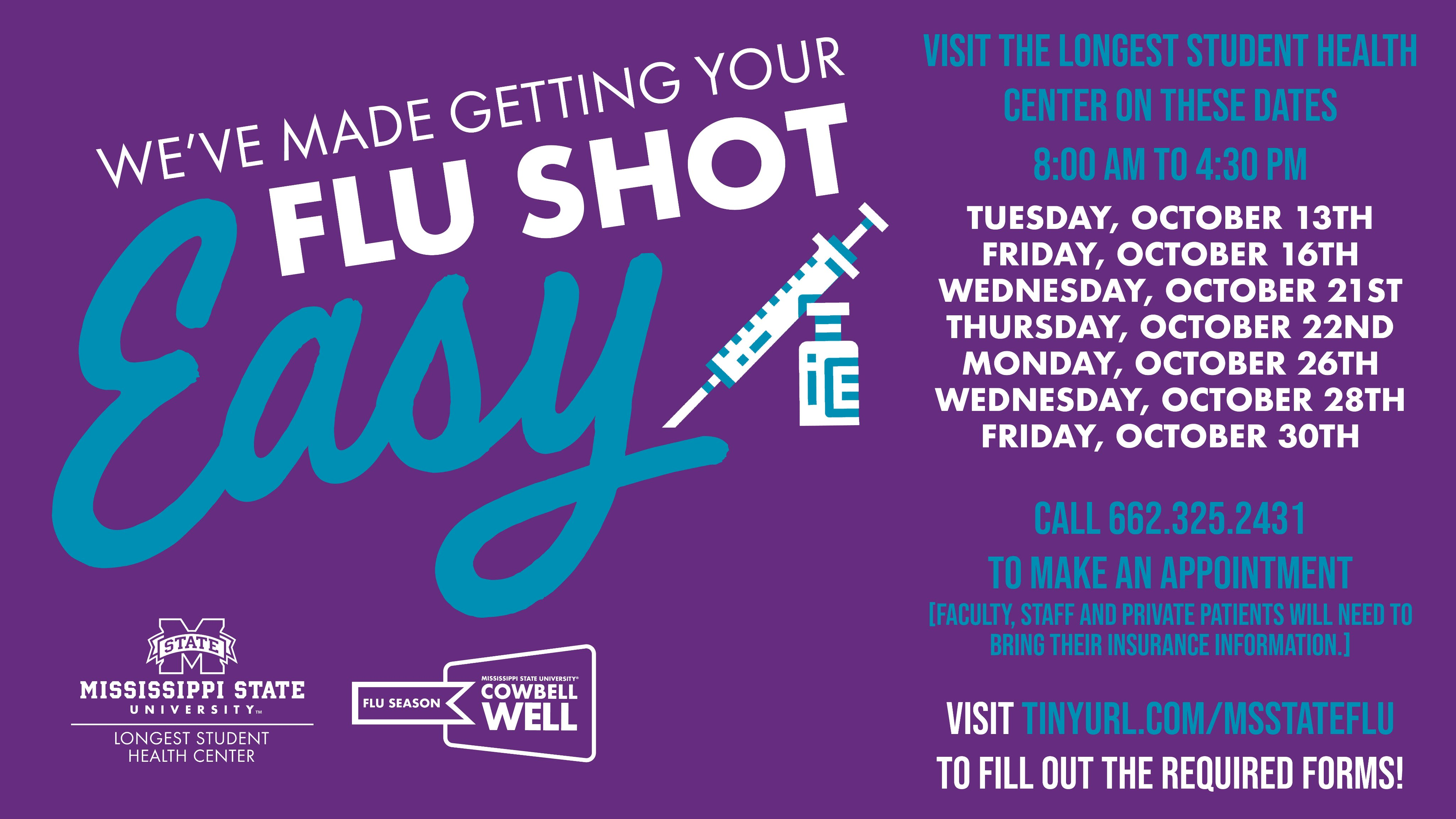 Blue and purple graphic promoting flu shot clinics for MSU students and employees