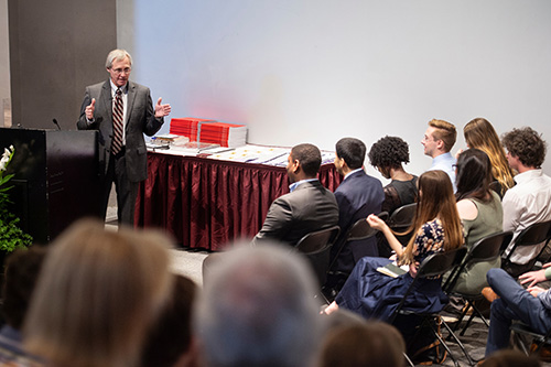 Mississippi State University College of Architecture, Art and Design Dean Jim West encouraged new graduates to work hard and be kind to others during the School of Architecture's recent Dr. William L. and Jean P. Giles Memorial Lecture. (Photo by Megan Bean)