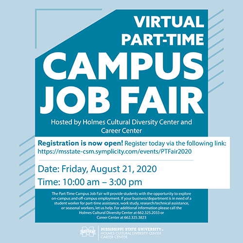 Teal and white graphic promoting MSU's Virtual Part-Time Jobs Fair