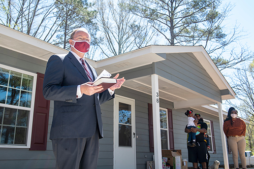 MSU President Mark E. Keenum speaks during the dedication ceremony at MSU and Habitat for Humanity's 12th Maroon Edition home.