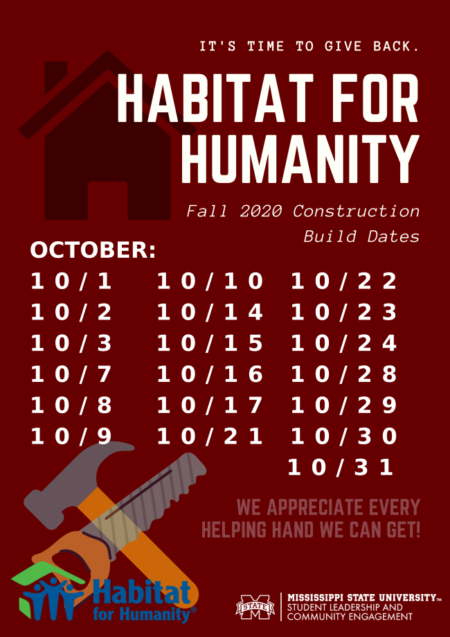 List of 2020 fall construction dates for Habitat for Humanity home