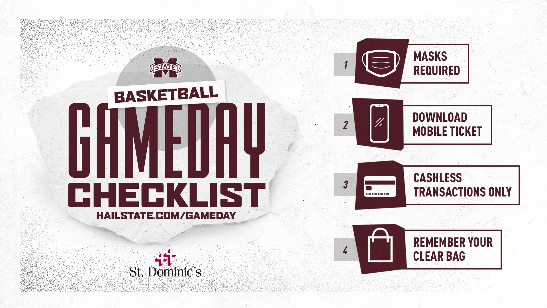 Maroon, white and gray graphic reminding MSU basketball fans about face masks, mobile tickets, cashless transactions, gate entry and clear bag policy
