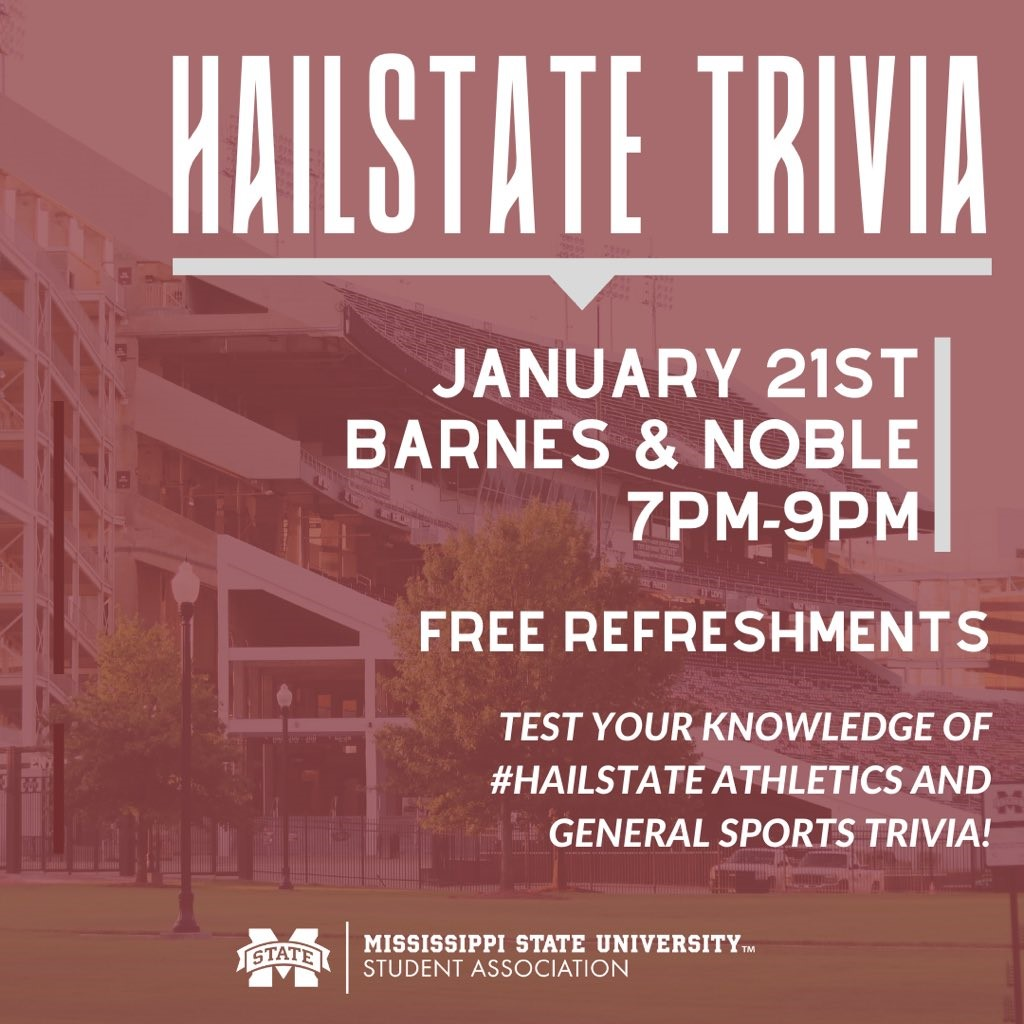 Promotional graphic for MSU Student Association's Hail State Trivia event