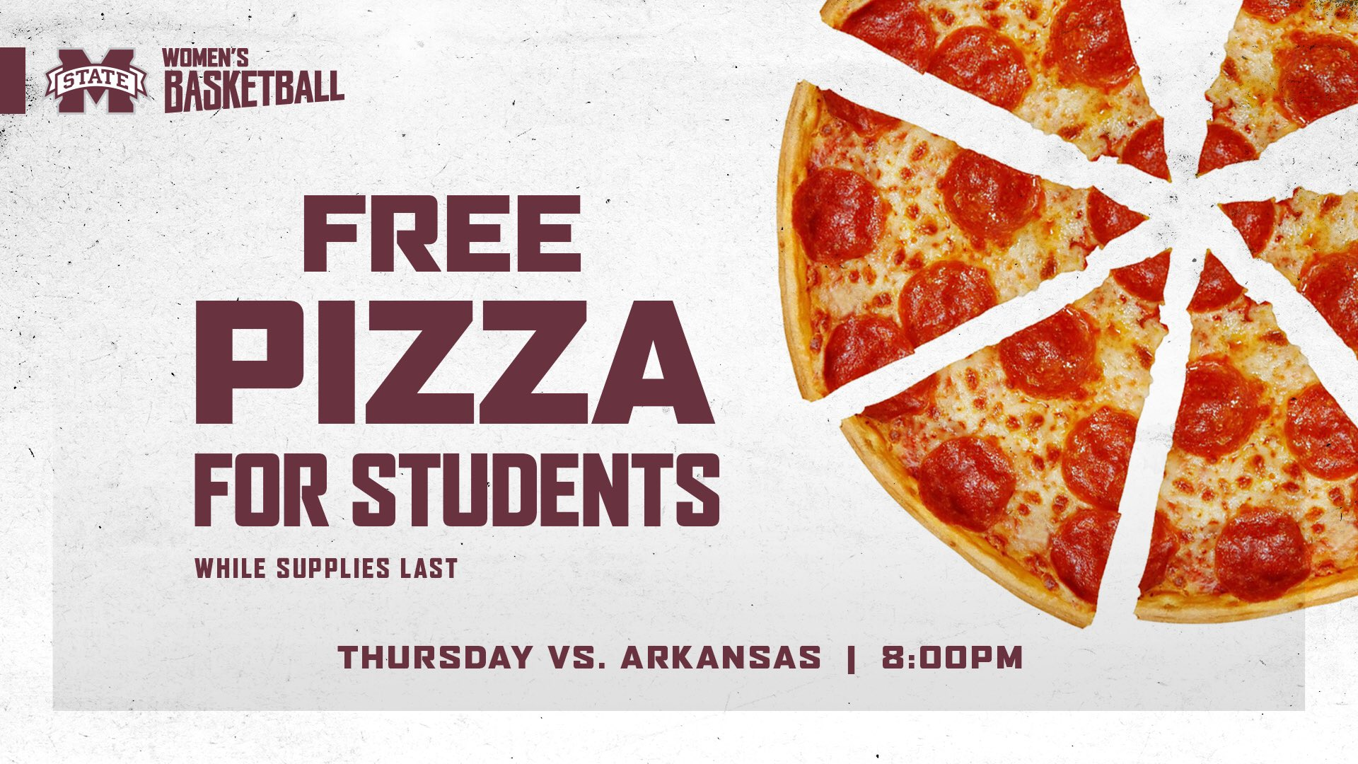 MSU Women's Basketball promotional graphic for pizza giveaway