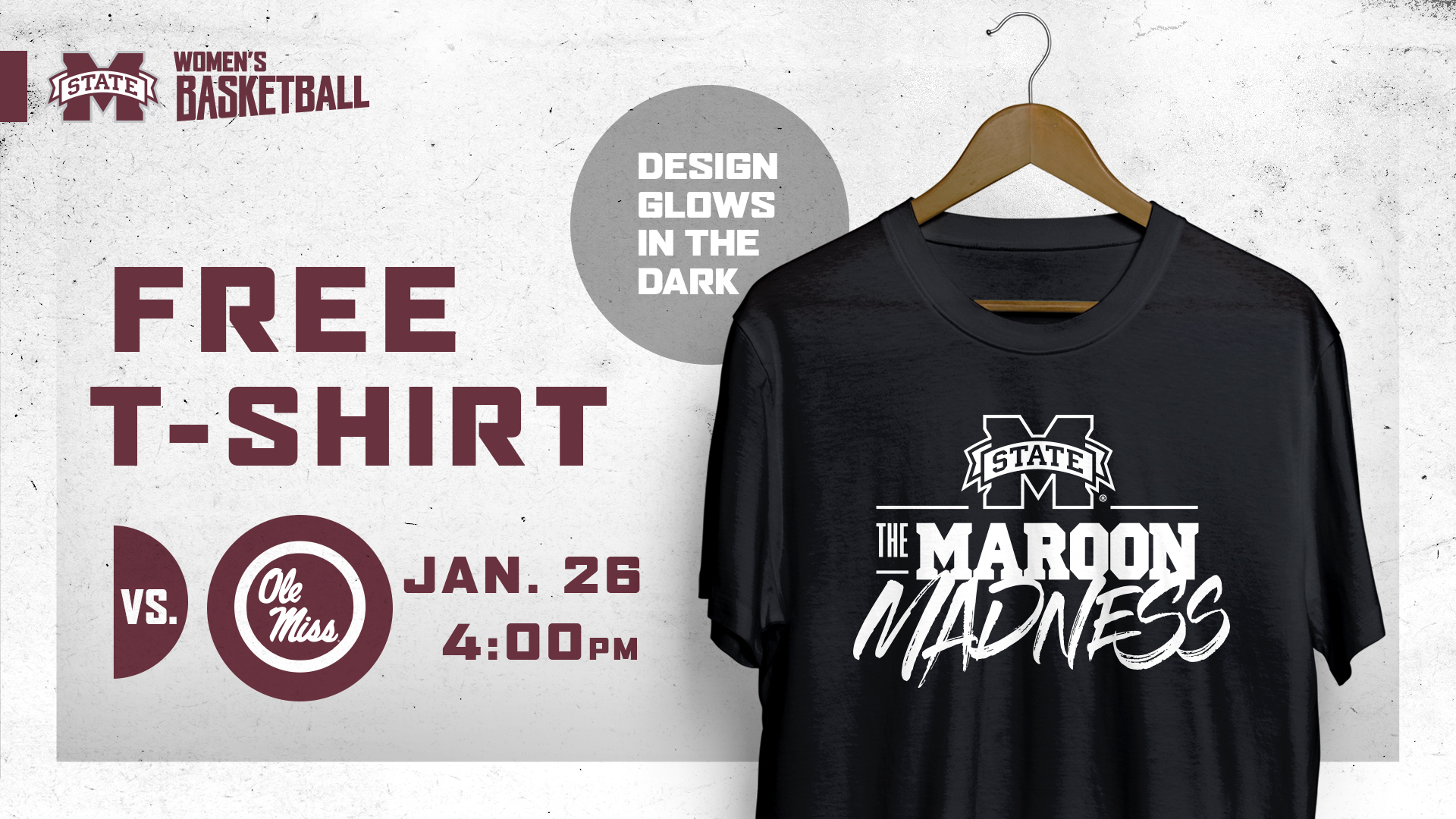Promotional graphic for MSU women's basketball T-shirt giveaway