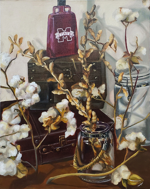 An oil painting of a Mississippi State cowbell resting on top of a brown box on a table covered in glass jars of cotton