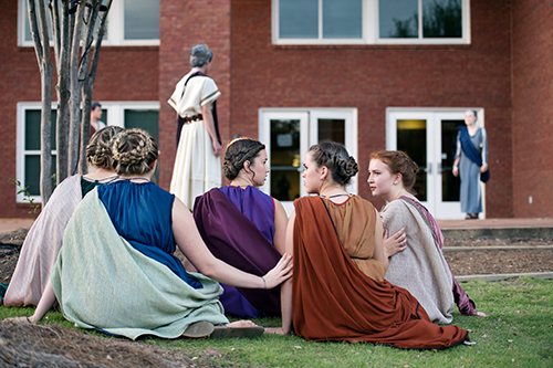 "MSU's Shackouls Honors College presents Seneca's tragedy, ""Phaedra,"" in the Zacharias Village courtyard behind Griffis Hall. The all-student performance was part of the honors college's annual Classical Week celebration of Greek, Roman and other ancient-world cultures. (Photo by Megan Bean)"