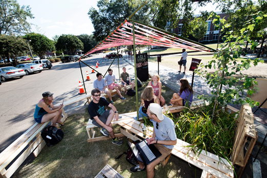 Mississippi State University's student chapter of the American Society of Landscape Architects hosted PARK(ing) Day September 16 near Colvard Student Union. The annual event turns parking spaces into temporary parks. (Photo by Megan Bean)