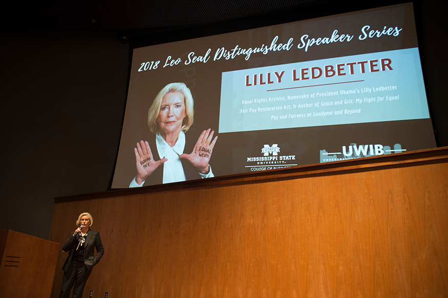 Lilly Ledbetter speaks to a capacity Taylor Auditorium crowd at Mississippi State on Tuesday [March 27]. (Photo by Megan Bean)