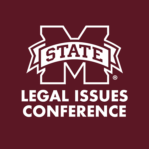 Maroon and white logo for MSU's Legal Issues Conference
