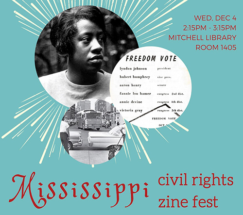 Promotional poster for MSU Department of English's Mississippi Civil Rights Zine Fest