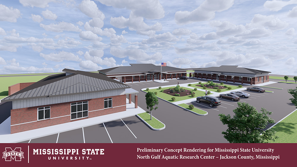 An architectural rendering of Mississippi State's Northern Gulf Aquatic Food Research Center
