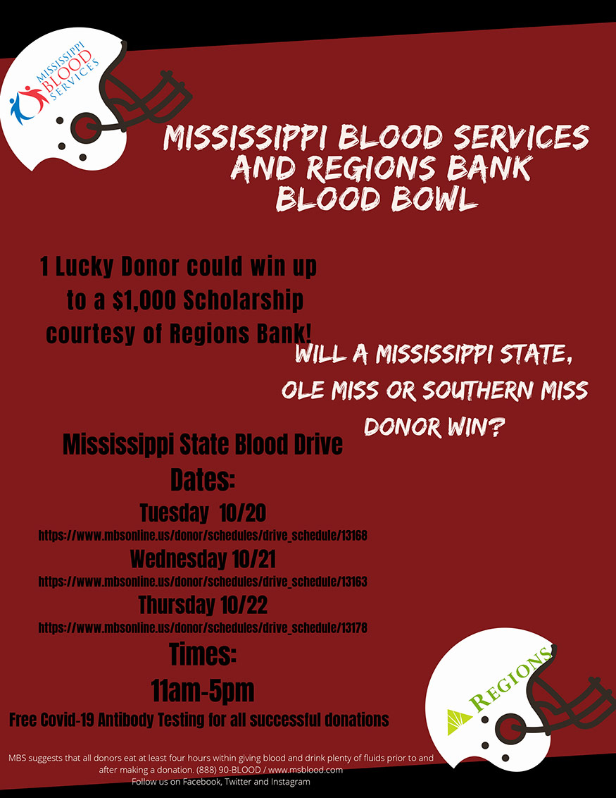 Mississippi Blood Services flyer with information about MSU blood drive