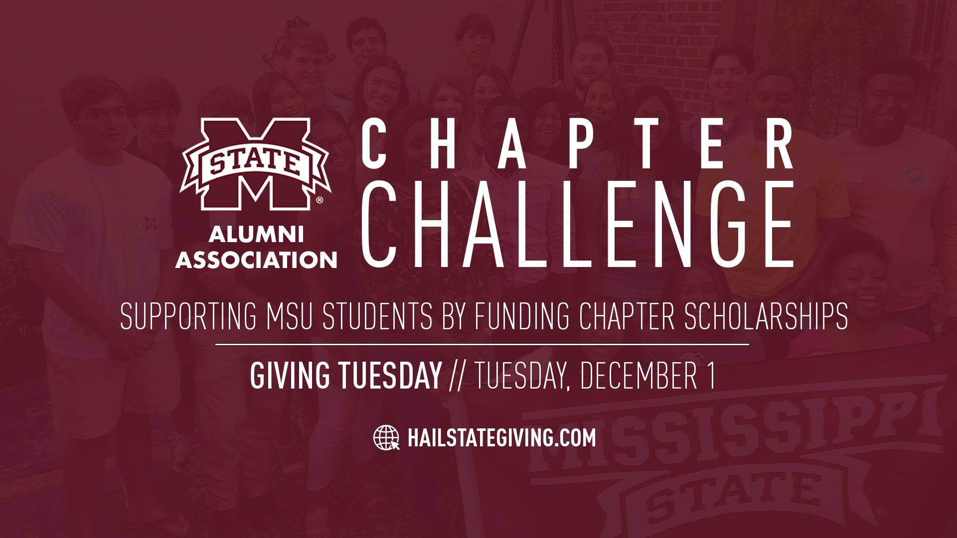 Graphic promoting M-State Chapter Challenge for student scholarship support