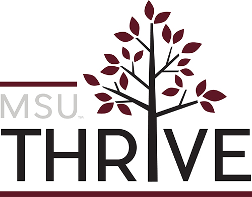 A logo that says MSU Thrive with a tree pictured
