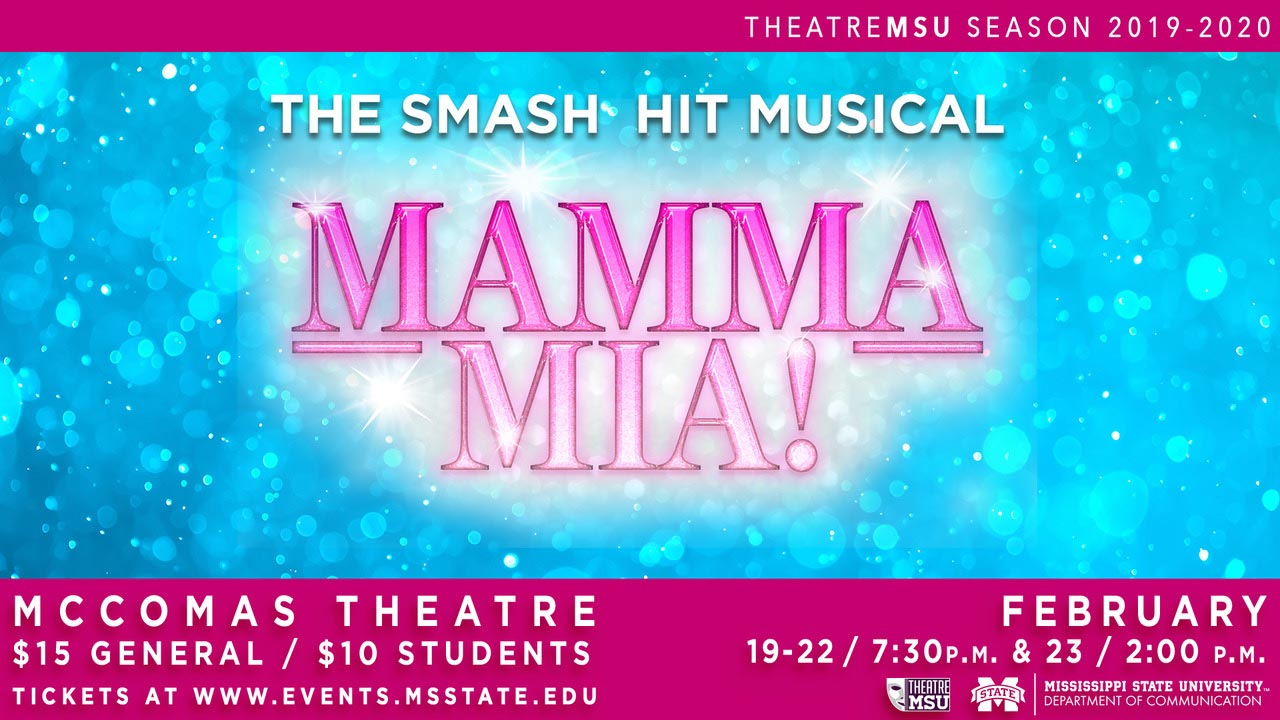 "Promotional graphic for Theatre MSU's production of ""Mamma Mia!"""