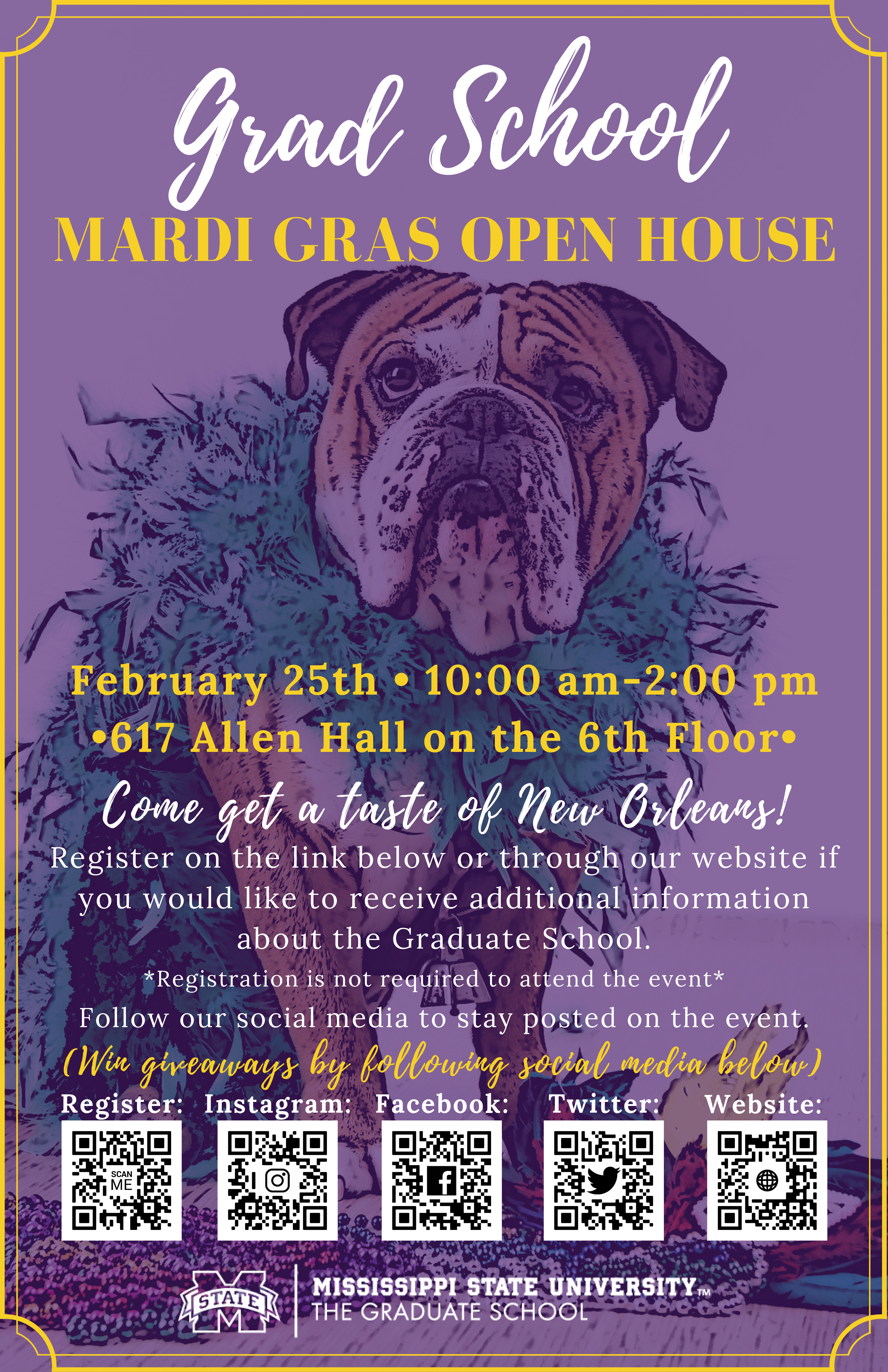 Promotional graphic for the MSU Graduate School's Mardi Gras Open House