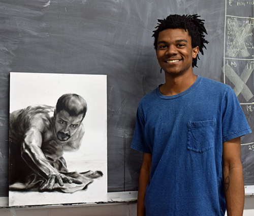 """Avaricia,"" a charcoal portrait by Mississippi State University art/fine arts senior Justin Mayfield of Flowood is among the diverse works featured in the Department of Art's ""In the Amber"" exhibition on display April 28-May 2 in the university's McComas Hall, Cullis Wade Depot and Visual Arts Center galleries. (Submitted photo)"