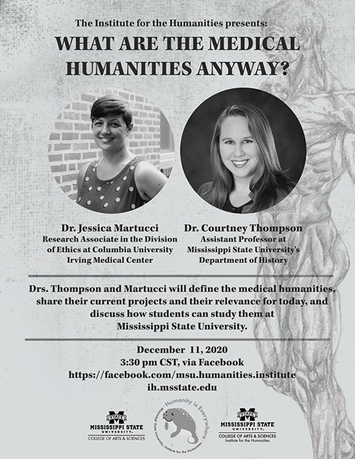 An Institute for the Humanities promotional flyer with photos of speakers Courtney Thompson and Jessica Martucci,