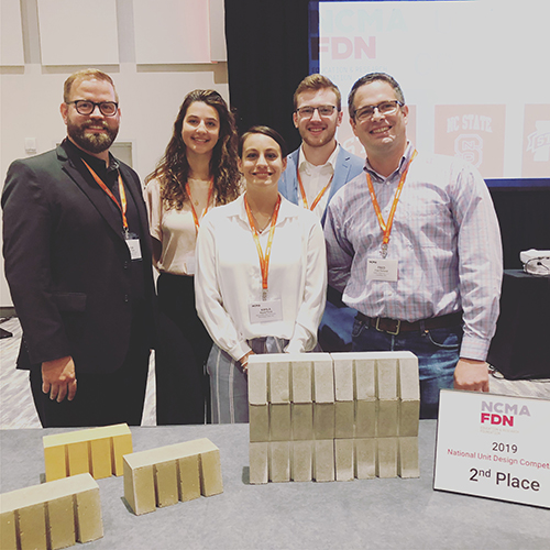 MSU Associate Professor of Architecture Jacob A. Gines; MSU architecture juniors Grace Sheridan, Kayla Perez and Joseph Thompson; and Fred Dunand, president of Saturn Materials LLC of Columbus, at the National Concrete Masonry Association 2019 Midyear Meeting