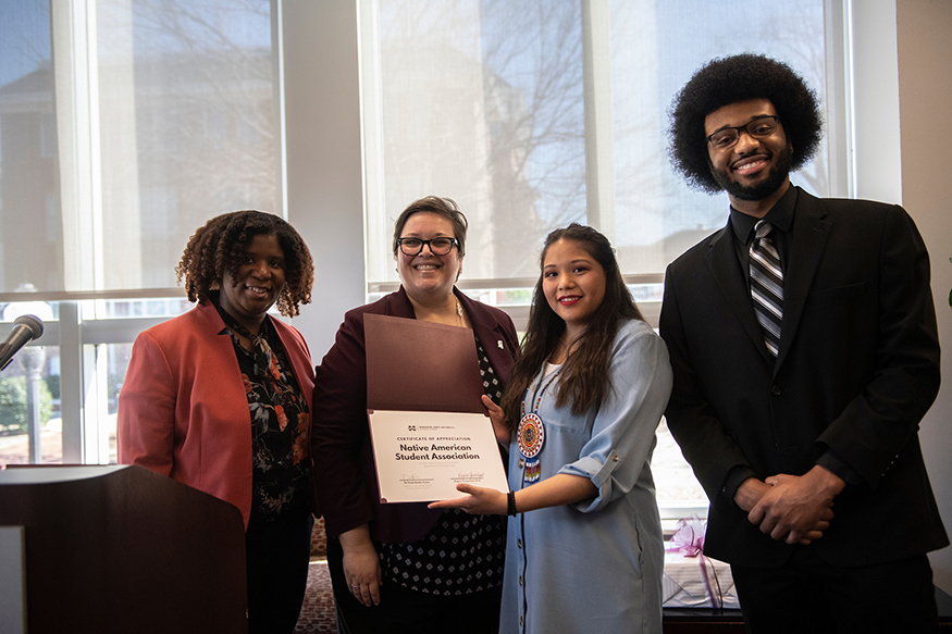Ra'Sheda Forbes, MSU Assistant Vice President for Multicultural Affairs, and Regina Hyatt, MSU Vice President for Student Affairs, are pictured with MSU Native American Student Association President Genesis Ferris, a sophomore criminology major from Choctaw, and Vice President Kristopher Andrews, a civil engineering junior from Carthage.