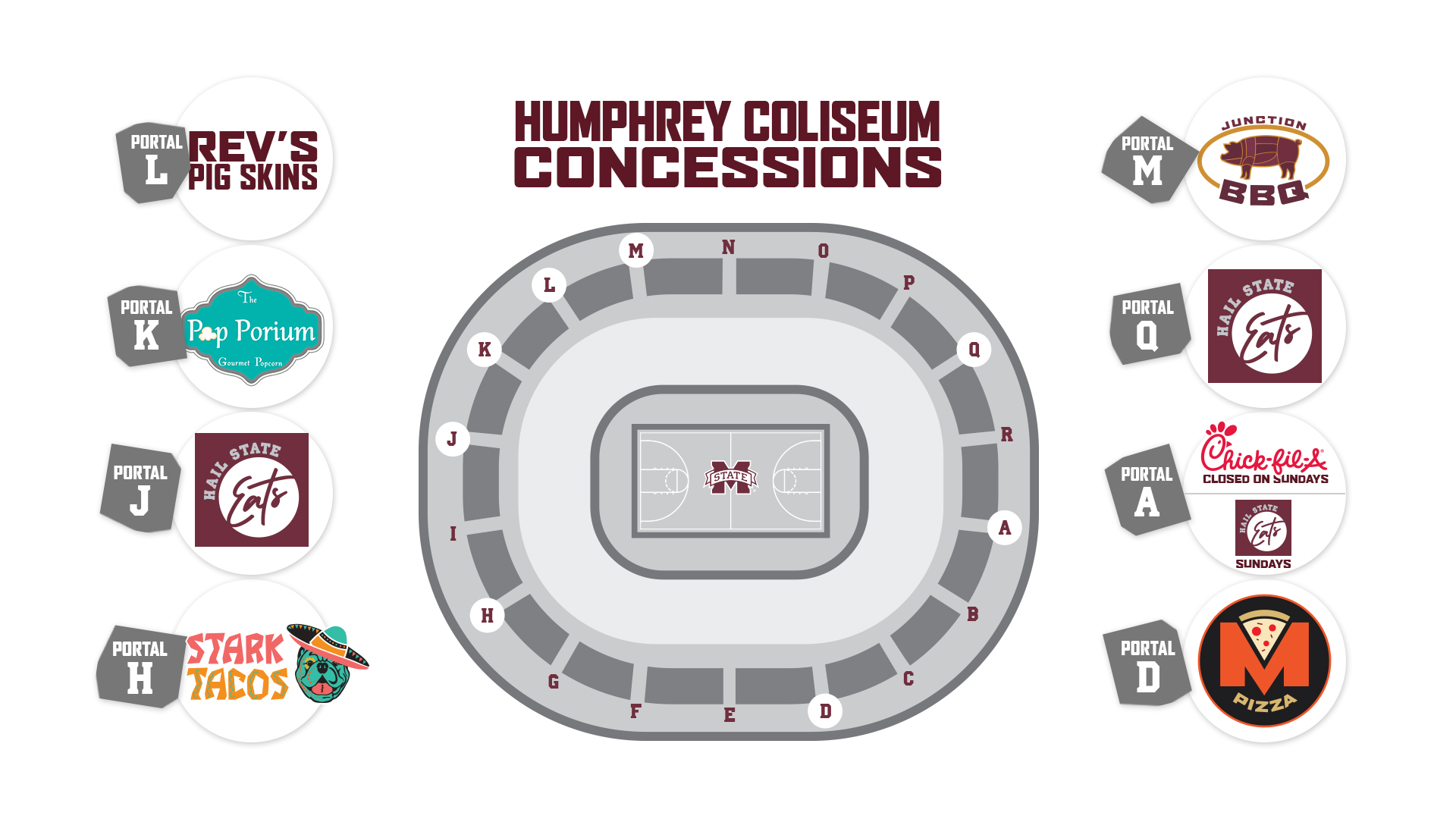 Graphic with Humphrey Coliseum seats surrounded by logos of concessions options