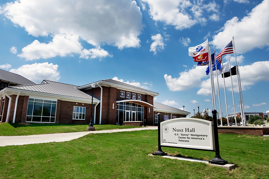 "Nusz Hall, a state of-the-art facility built in 2016, serves as the home for Mississippi State's G.V. ""Sonny"" Montgomery Center for America's Veterans. (Photo by Megan Bean)"