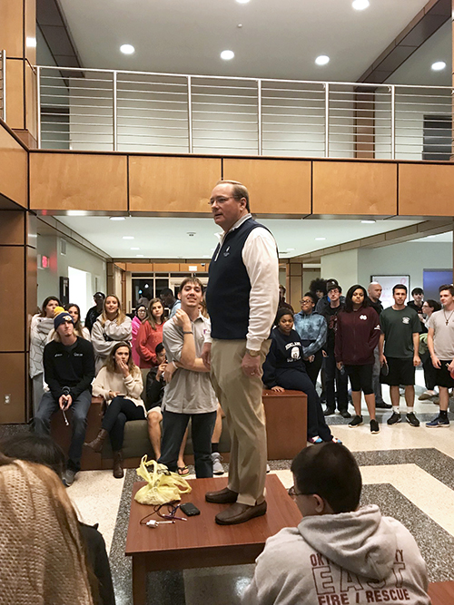 MSU President Mark E. Keenum addressed Oak Hall residents following a Sunday [Oct. 22] fire at the residence hall. No injuries were reported from the fire, but one room received fire damage and approximately 30 rooms received water damage. (Photo by Sid Salter)